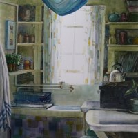 Watercolor: Cottage Kitchen (& a Daylight Studio Lamp Give-a-Way)