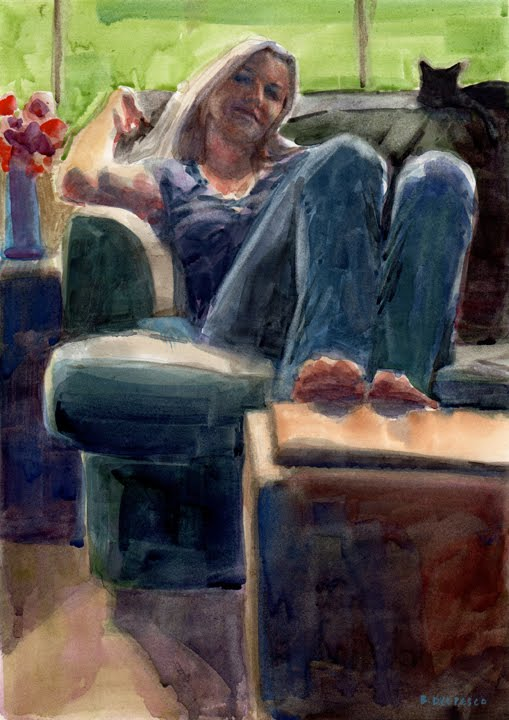 watercolor portrait of a woman on a couch next to a cat