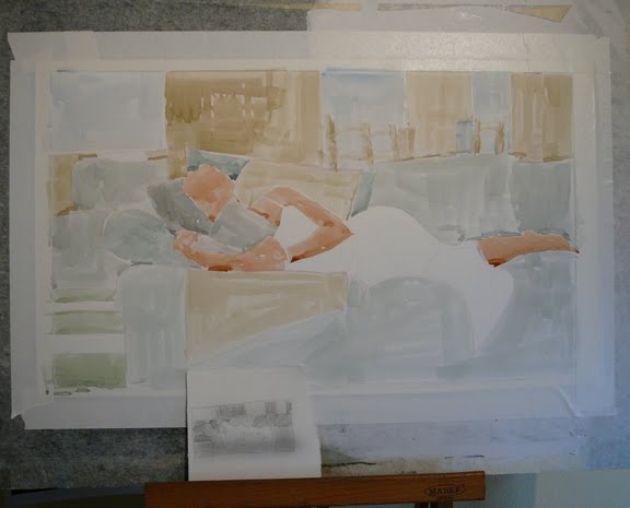 a figurative watercolor in process, showing just faint washes of watercolor and a small sketch