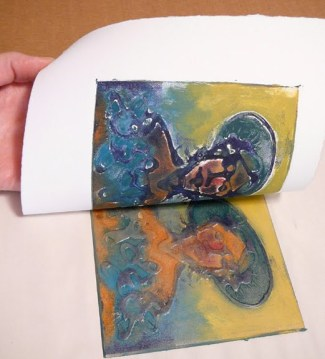 pulling a glue collagraph print