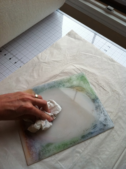 cleaning a monotype plate