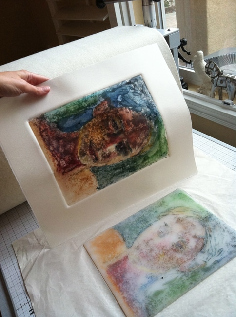 watercolor monoprint
