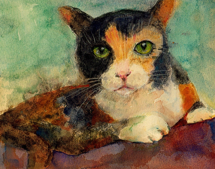 light field monotype of a calico cat