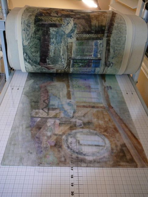making a monotype on a press