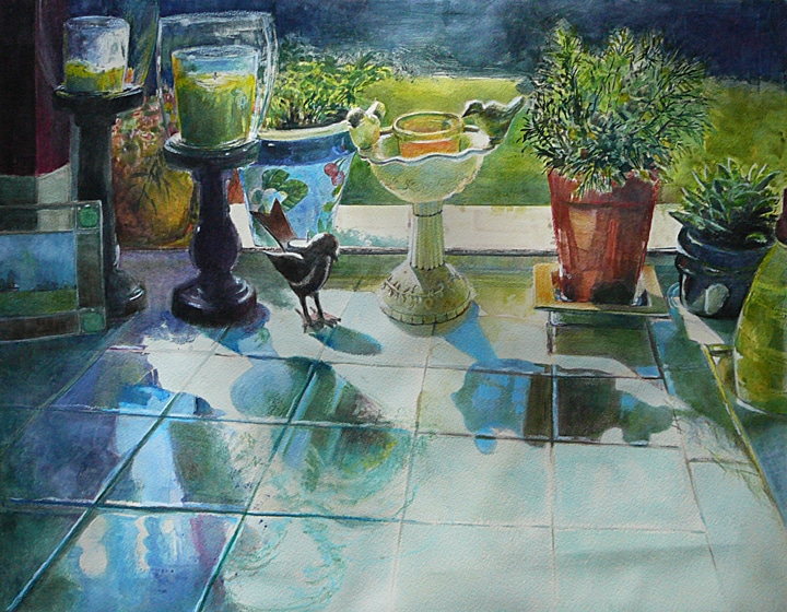 Candles and potted plants in a sunny window, casting shadows on white tiles