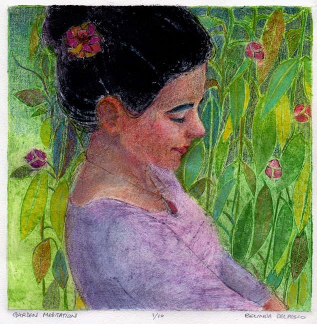 a profile of a woman with dark hear pulled up in a green and flowery garden