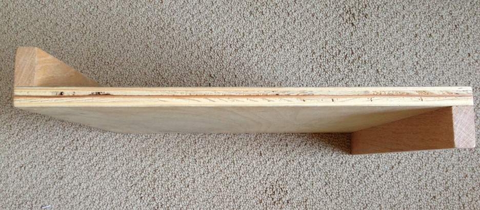 A plywood bench hook, also known as an S-brace