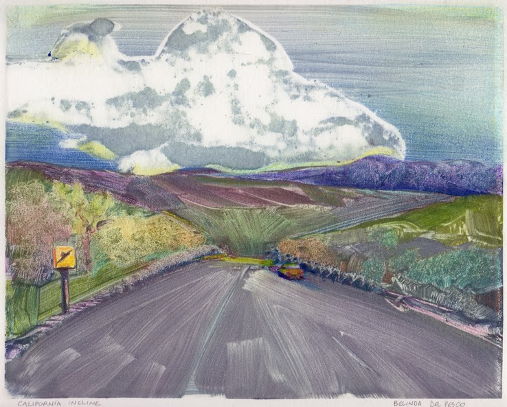 Color Monotype - California Incline, and Making Quick Monotype Studies from a page of Thumbnail Photos to Loosen Up