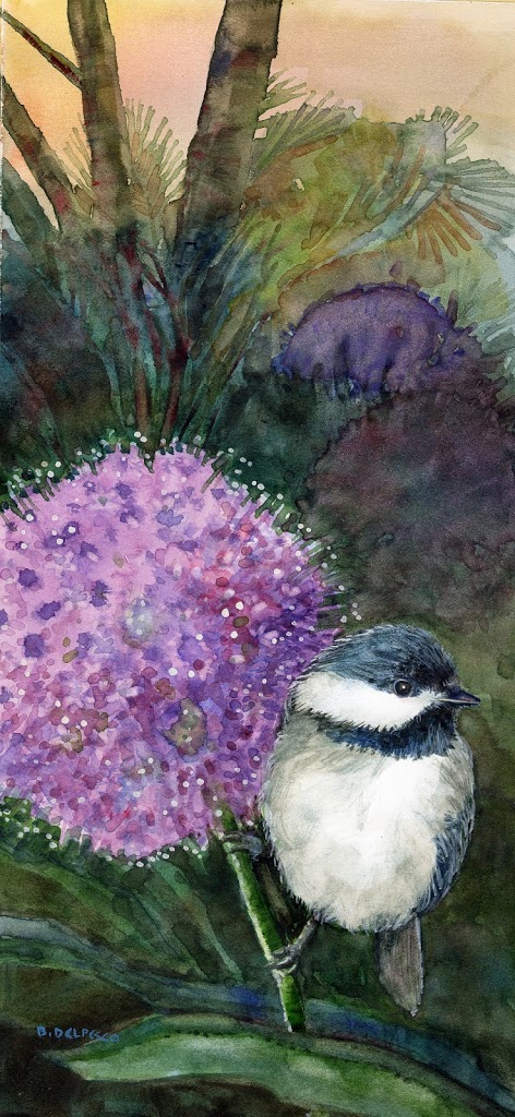 watercolor of a chickadee