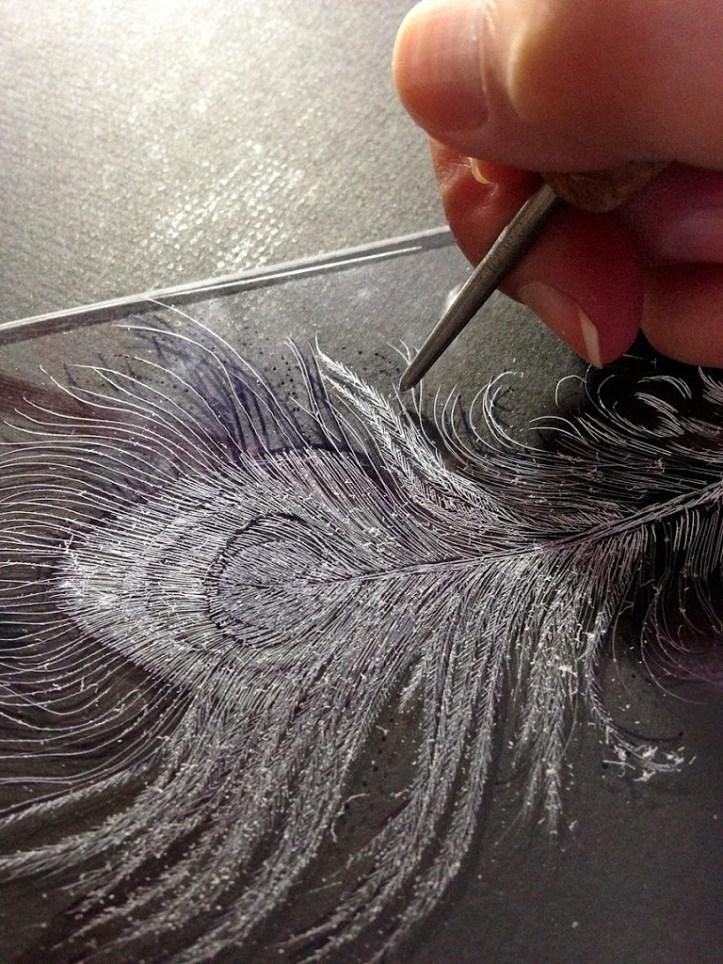 drypoint engraving on plexiglass