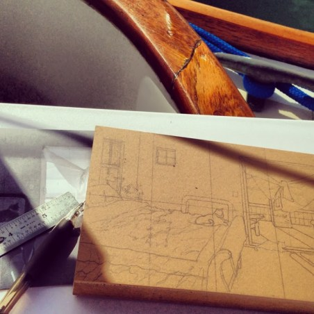 Linocut-drawing