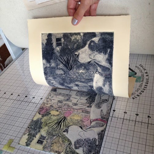 collagraph-print of a great dane dog being pulled from an etching press in an artist's studio (Belinda Del Pesco)