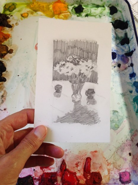 sketching watercolors