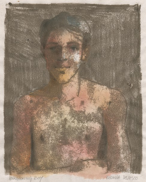 Trace Monotype: Portrait of an adolescent boy