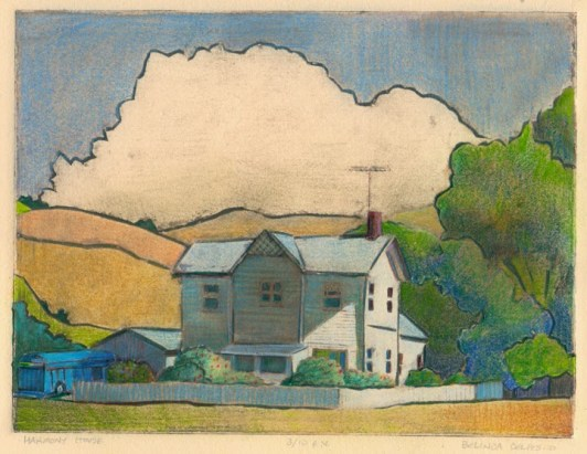 a portrait of a farmhouse printed from a sheet of mat board and colored by hand
