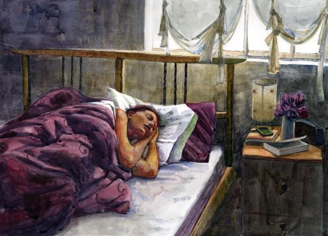 saturday morning sleep in watercolor