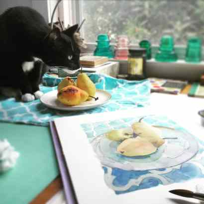 Pen and Ink Still Life in process with the studio cat inspecting the fruit set up for the art underway
