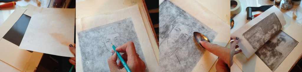 Four steps in photos to create a monotype on the kitchen counter using ink, paper, a brayer, a silver spoon and some paper.
