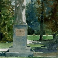 Watercolor: Jean Althen Statue, Papal Palace Gardens, Avignon