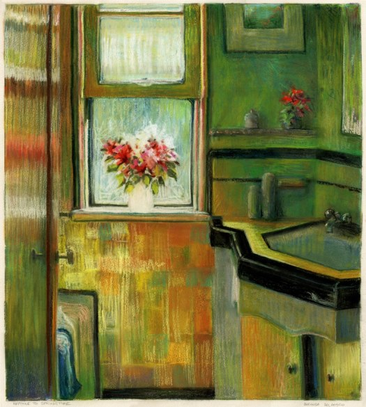 a monotype with pastel showing an interior art deco bathroom with a bright, open window and a bouquet of flowers on the sill