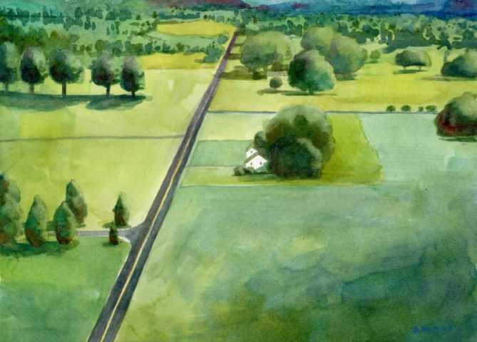 aerial landscape watercolor art