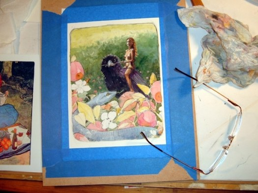 watercolor and charcoal together on a painting in process of a woman riding a crow into a garden, while a blue snake in an apple tree watches her