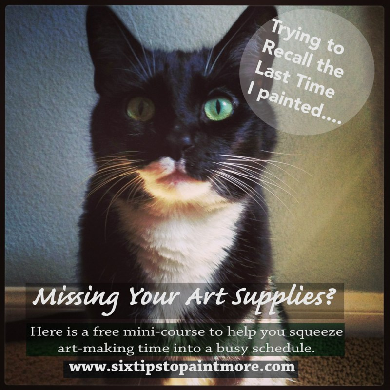 An expert cat, looking straight out at the viewer, with an earnest expression, to encourage more frequent art-making with six tips on a free video course.
