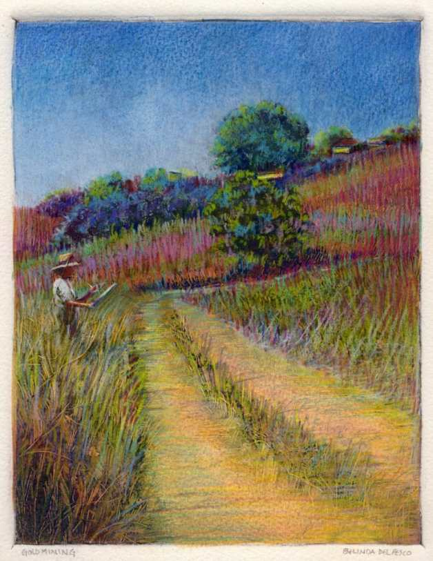 A painter standing in a golden meadow sketching the grasses and trees