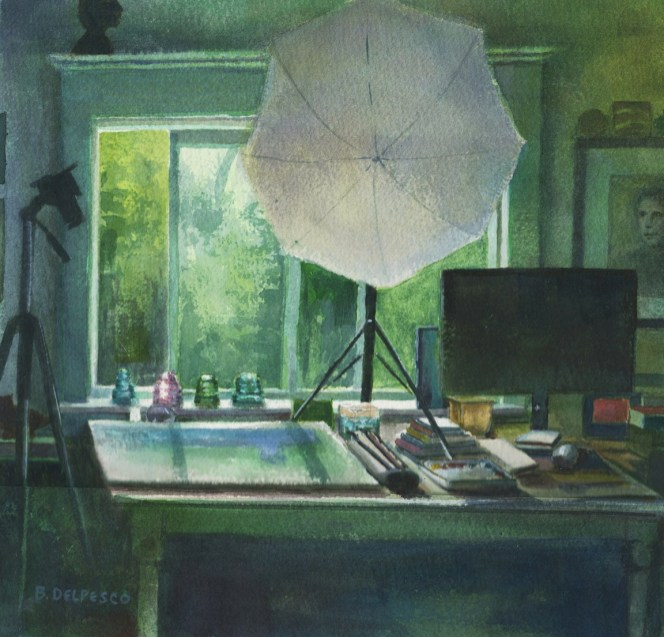 A watercolor of a table against an open window with silhouettes of a computer monitor, stacks of books, a camera on a tripod and an umbrella-light over a work in process on the table