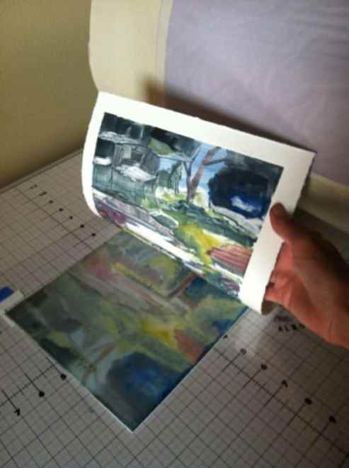 color-monotype and monoprint printmaking exercises