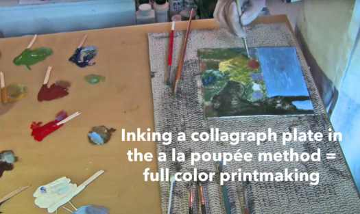 Full color printmaking from a mat board collagraph plate using the a la poupee inking method by artist and printmaker Belinda Del Pesco