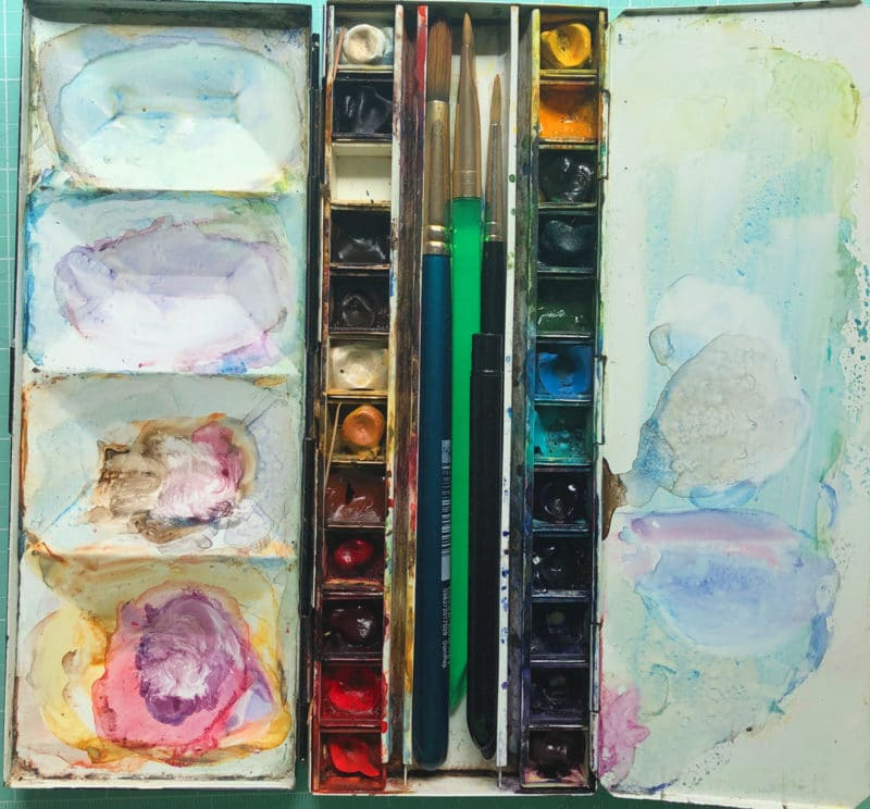 watercolor palette for field painting