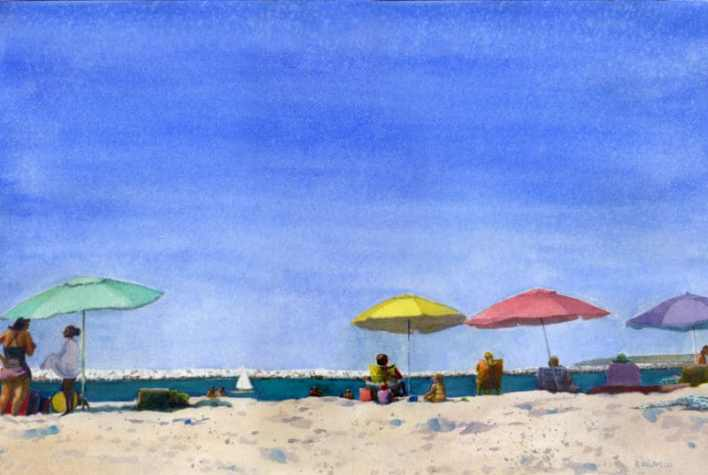 Mother's Beach Ventura watercolor with colorful parasols