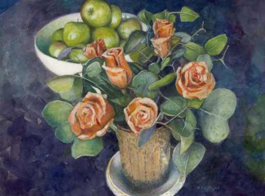 a watercolor still life of peach colored roses and green apples with eucalyptus leaves