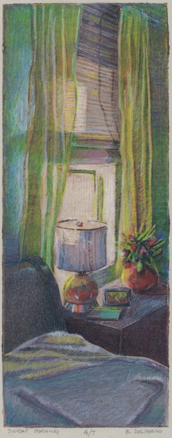 a sunlit window in a bedroom, with a lamp on a bed table, and a potted plant, in front of bamboo shades and sheer curtains