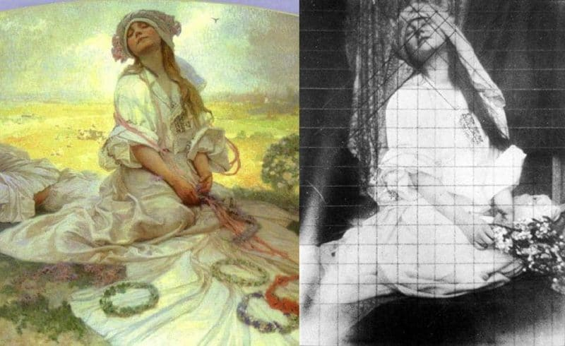 a painting by Alphonse mucha next to a reference photo with grid lines drawn through it