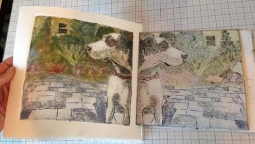 collagraph-print of a great dane dog - in color - being pulled from an etching press in an artist's studio (Belinda Del Pesco)