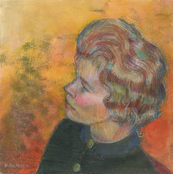 a trace monotype of a woman in profile, painted with watercolor and enhanced with colored pencil