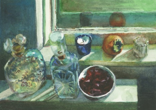 a watercolor still life of glass decanters and a persimmon with a bowl of dried rose petals and votive candles on a sunny window sill