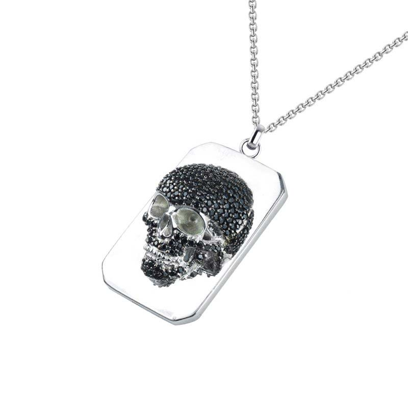 Extremely detailed intricate skull Necklace set with Black CZ