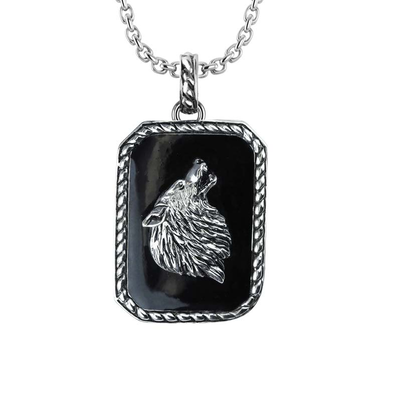 Stylish 925 Sterling Silver Wolf Necklace