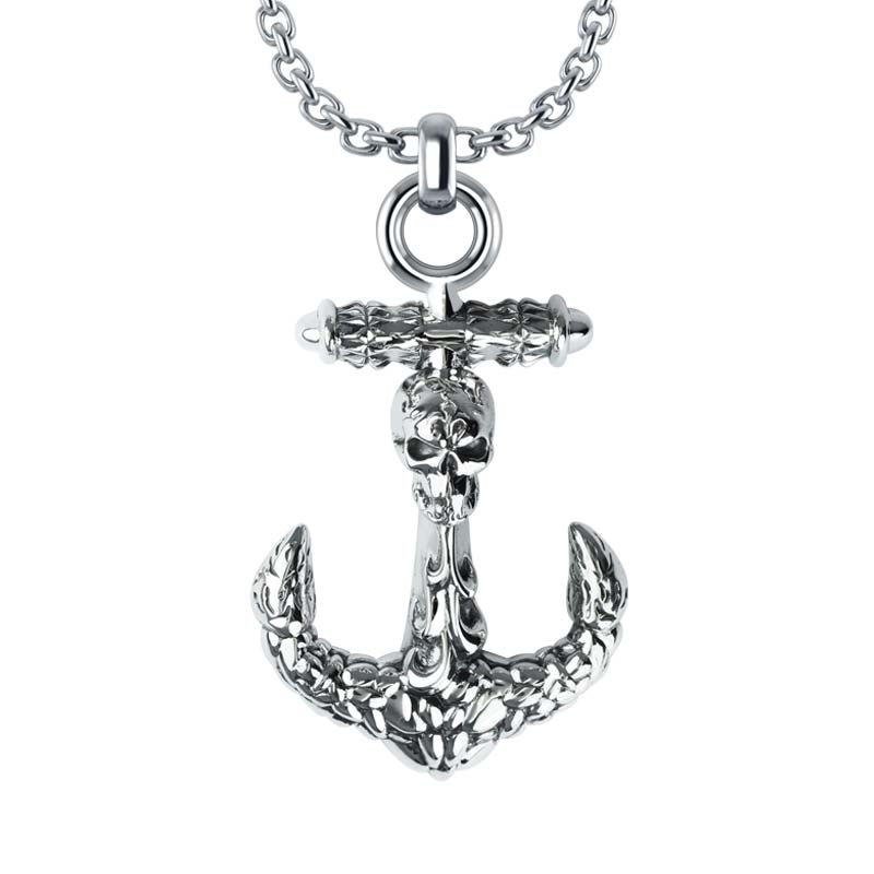 Three-Dimensional Anchor Necklace with skull and classic texture