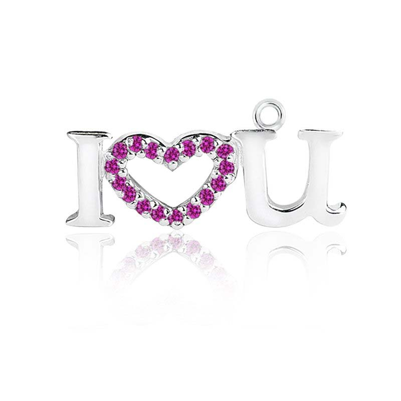 Sterling Silver I love U charm pendant with Pink CZ