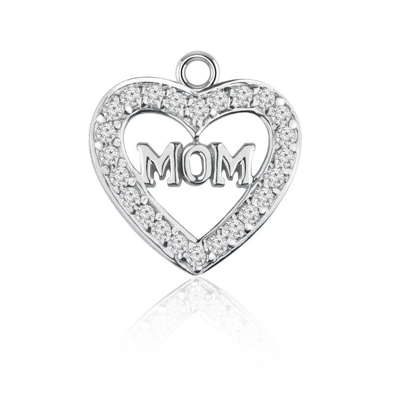 Heart shaped silver charm pendant for 'Mom' with White CZ