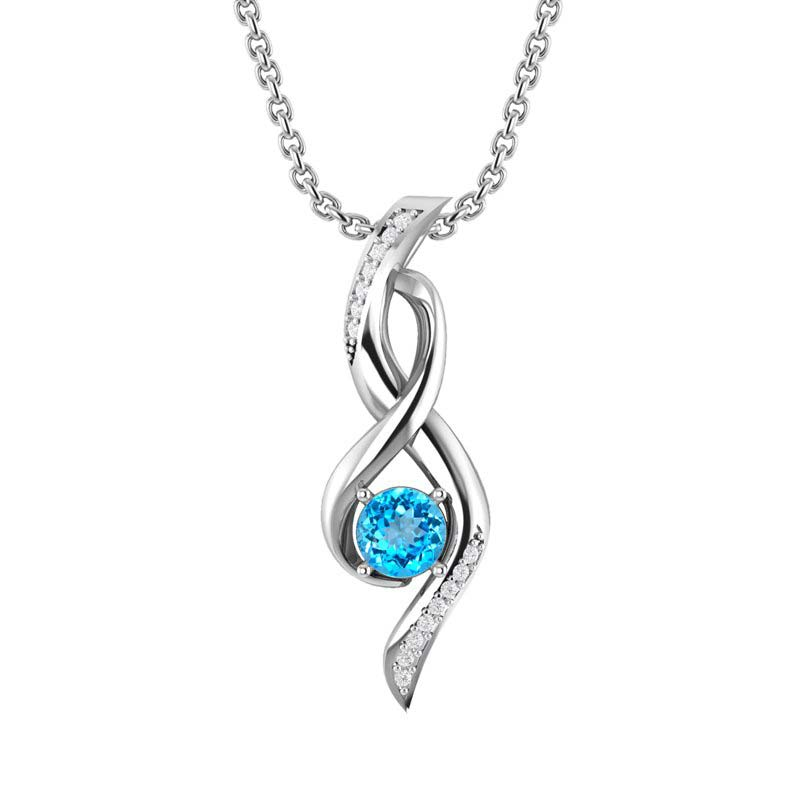 Silver Infinity Necklace with Swiss Blue Topaz