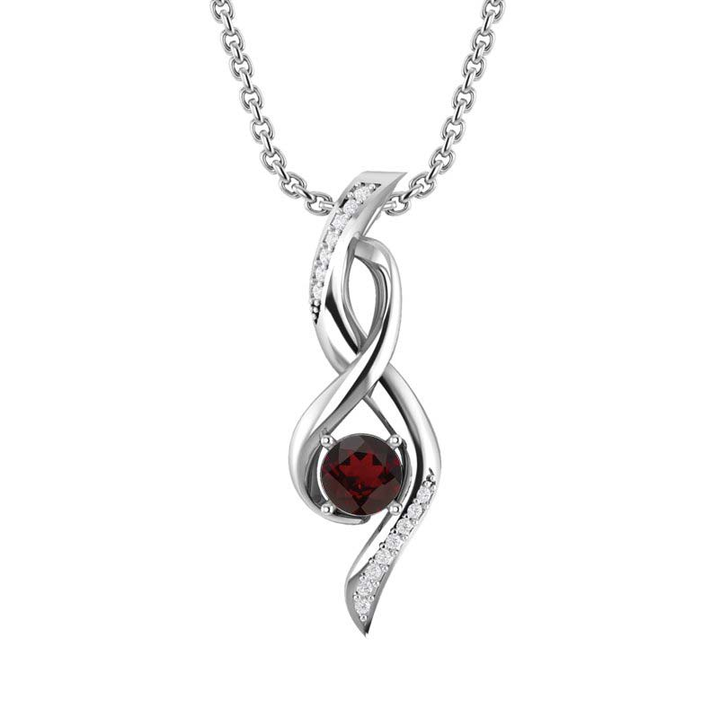 Silver Infinity Necklace with Red Garnet
