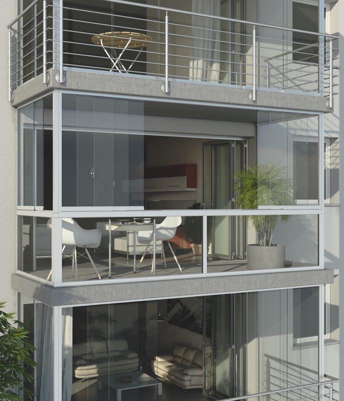 rideaux de verre coulissants vitres