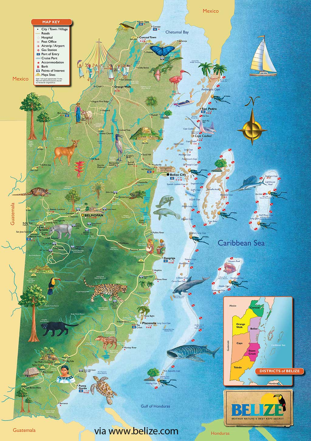 Belize Map Free Maps Of Belize And Central America
