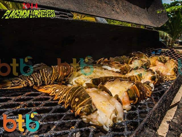 lobsters on the grill in Belize