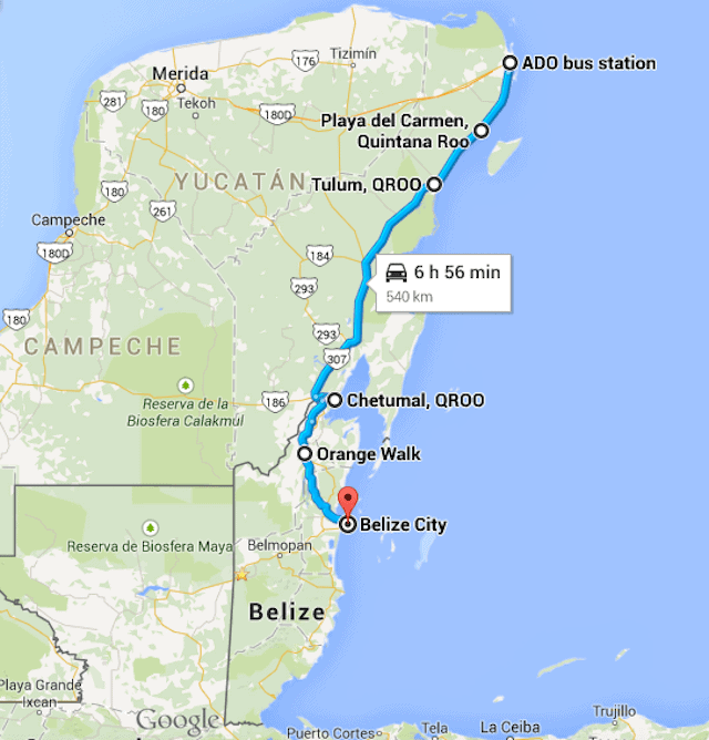 ADO Bus Cancun to Belize City route